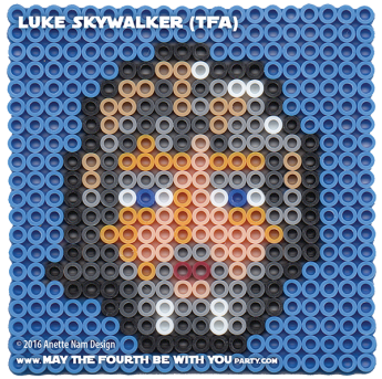 Luke Skywalker The Force Awakens Pattern. / We add new patterns every week! Click URL and follow us! / Star Wars perler, hama bead, cross-stitch, knitting, Lego, pixel pattern / Patterns are ©, your work must include © if posted & can not be sold. See blog for complete ©. #pixel #pixelart #perler #perlerbeads #hama #hamabeads #starwars #crossstitch #lego #knitting #mosaic #diy #luke #lukeskywalker #whereisluke #theforceawakens / maythefourthbewithyoupartyblog.com