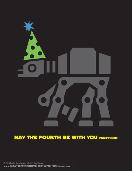 DIY AT-AT May the Fourth be with You Party T-shirt/Stencil Pattern. This and many other patterns can be downloaded FREE from our blog. /// Note: Patterns are ©, and your work must include © if posted, and can not be sold. See blog for complete ©. #atat #starwars #tshirt #starwarsparty #theforceawakens #rebels #maythefourthbewithyou #starwarscostume #pattern #maythe4thbewithyou #stencil #silkscreen #silhouettecameo maythefourthbewithyoupartyblog.com