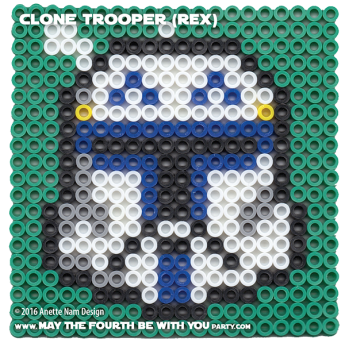 Captain Rex Perler Pattern/ We add new patterns to our blog every week! Click to follow! / Star Wars perler, hama bead, cross-stitch, knitting, Lego, pixel pattern / Patterns are © & your work must include © if posted, & can not be sold. See blog for complete ©. #pixel #pixelart #perler #perlerbeads #hama #hamabeads #fusebeads #starwars #crossstitch #lego #knitting #mosaic #diy #rex #rebels #clonewars #captainrex #CT7567 #clonetrooper #helmet maythefourthbewithyoupartyblog.com
