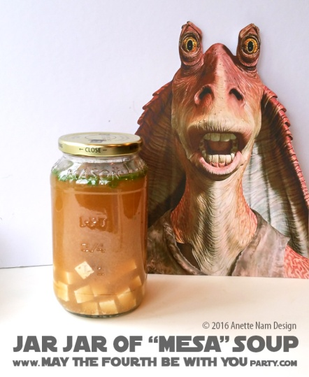Jar Jar Mesa (Miso) Soup / Check out our blog for lots of Star Wars Party food recipes and downloadable labels! Great ideas for a Birthday Party or a May the Fourth be with you Party. / #starwars #starwarsparty #maythefourthbewithyou #starwarsbirthday #starwarsfood #jarjar #jarjarbinks #mesa #miso #misosoup #foodart #recipe #soup #revengeofthesith #attackoftheclones #tofu #seaweed #yoda #lighsaber #chopsticks / maythefourthbewithyoupartyblog.com