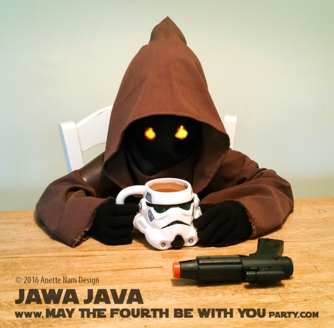 Jawa Java with Stormtrooper Coffee mug and C-3PO Coffee mate creamer/ Check out our blog for lots of Star Wars Party food recipes and downloadable labels! Great ideas for a Birthday Party or a May the Fourth be with you Party. / #starwars #starwarsparty #theforceawakens #maythefourthbewithyou #starwarsbirthday #starwarsfood #jawa #coffeemate #coffee #c3po #stormtrooper #blaster #foodart #recipe #costume #breakfast #beverage #maythe4th #maythefourth / maythefourthbewithyoupartyblog.com