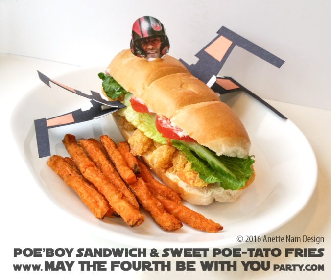 Poe'boy X-Wing Sandwich with Sweet Poe-tato Fries / Check out our blog for lots of Star Wars Party food recipes and downloadable labels! Great ideas for a Birthday Party or a May the Fourth be with you Party. / #starwars #starwarsparty #maythefourthbewithyou #maythe4thbe withyou #starwarsbirthday #starwarsfood #poe #poedameron #xwing #oscarisaac #poboy #sandwich #foodart #recipe #theforceawakens #xwingpilot #xwing #shrimp #fries #downloadble #sub / maythefourthbewithyoupartyblog.com