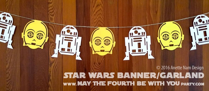 DIY Star Wars Party Banner/Garland/Flags with C-3PO and R2-D2 /// We add new Star Wars crafts and fun to our blog every week! /// #starwars #theforceawakens #rogueone #r2d2 #c3po #silhouettecameo #diecut #starwarsparty #maythefourthbewithyou #party #birthday #stencil #banner #garland #flag /// maythefourthbewithyoupartyblog.com