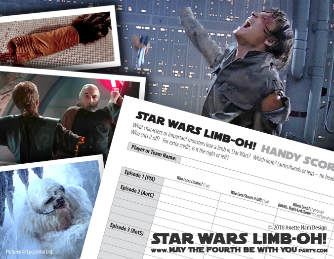 Star Wars Limbo /Limb-OH / We have Star Wars fun and games every week! Click the URL and follow us to make sure you don't miss any! / Note: Game is ©, and your work must include © if posted, and can not be sold. See blog for complete ©. #starwars #limbo #arm #leg #dismembered #dismemberment #wampa #luke #lukeskywalker #anakin #anakinskywalker #dooku #pondababa #games #game #downloadable #darthmaul #lighsaber #theforceawakens / maythefourthbewithyoupartyblog.com