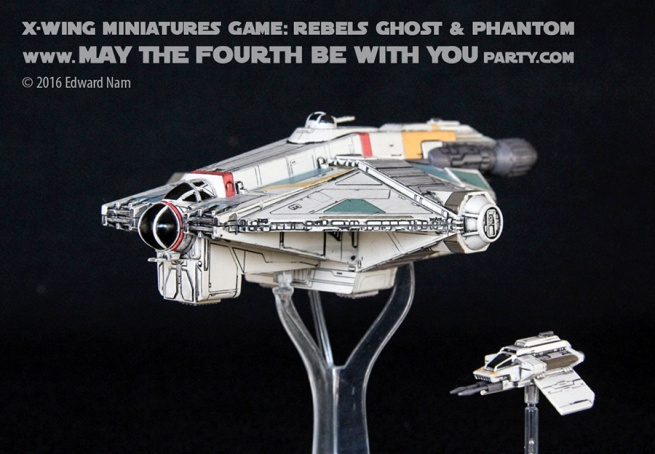 Star Wars X-Wing Miniatures Game: Rebels Ghost and Phantom /// We add new Star Wars fun on our blog every week! /// #starwars #theforceawakens #xwingminiaturesgame #boardgames #review #xwing #rebels #starwarsrebels #miniature #ghost #phantom #hera /// maythefourthbewithyoupartyblog.com