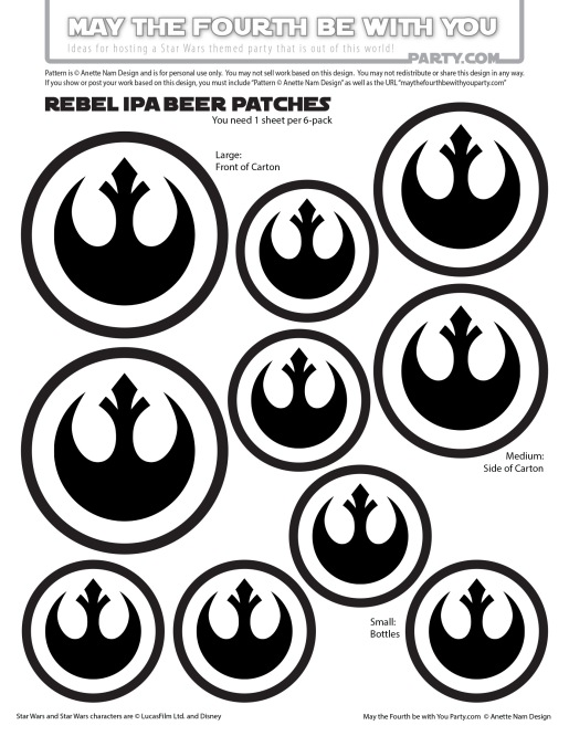 Star Wars Food: Rebel Beer /// Check out our blog for lots of Star Wars Party food recipes and downloadable labels! Great for a Birthday Party or a May the Fourth be with you Party. /// #starwars #starwarsparty #downloadable #theforceawakens #rogueone #rebels #rebel #maythefourthbewithyou #starwarsbirthday #starwarsfood #beer #rebelIPA #samueladams // maythefourthbewithyoupartyblog.com
