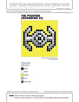 Darth Vader TIE Advanced (TIE Fighter) Perler Pattern. / We add new patterns to our blog every week! Click to follow us / Star Wars perler, hama bead, cross-stitch, knitting, Lego, pixel pattern / Patterns are ©, and your work must include © if posted, & can not be sold. See blog for complete ©. #pixel #pixelart #perler #perlerbeads #hama #hamabeads #fusebeads #starwars #crossstitch #lego #knitting #mosaic #diy #tiefighter #tieadvanced #darthvader #rougeone / maythefourthbewithyoupartyblog.com