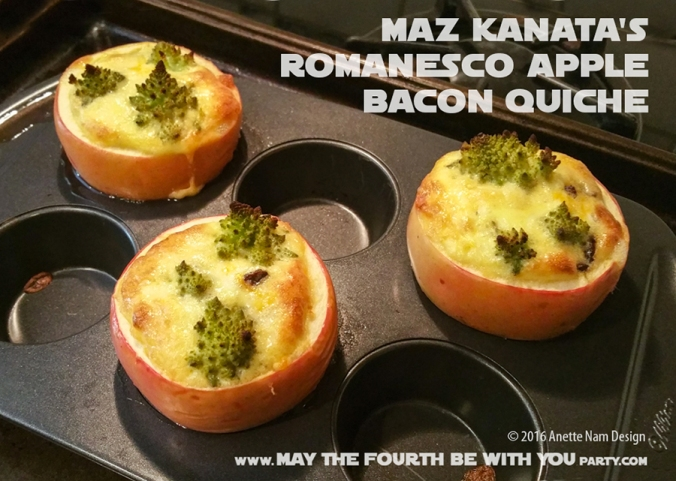Maz Kanata's Romanesco Apple Bacon Quiche / Check out our blog for lots of Star Wars Party food recipes and downloadable labels! Great for a Birthday Party or a May the Fourth be with you Party. / #starwars #starwarsparty #theforceawakens #maythefourthbewithyou #starwarsbirthday #starwarsfood #quiche #romanesco #mazkanata #maz #rey #takodana #apple #bacon #recipe / maythefourthbewithyoupartyblog.com