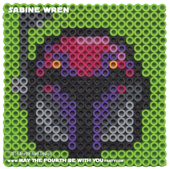 Sabine Wren Perler Pattern / We add new patterns to our blog every week! Click URL and follow us to make sure you don't miss any! / Star Wars perler, hama bead, cross-stitch, knitting, Lego, pixel pattern / Note: Patterns are ©, and your work must include © if posted, and can not be sold. See blog for complete ©. #pixel #pixelart #perler #perlerbeads #hama #hamabeads #starwars #crossstitch #lego #knitting #mosaic #pattern #sabine #sabinewren #helmet #rebels maythefourthbewithyoupartyblog.com