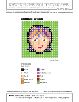 Sabine Wren Perler Pattern / We add new patterns to our blog every week! Click URL and follow us to make sure you don't miss any! / Star Wars perler, hama bead, cross-stitch, knitting, Lego, pixel pattern / Note: Patterns are ©, and your work must include © if posted, and can not be sold. See blog for complete ©. #pixel #pixelart #perler #perlerbeads #hama #hamabeads #starwars #crossstitch #lego #knitting #mosaic #pattern #sabine #sabinewren #rebels maythefourthbewithyoupartyblog.com