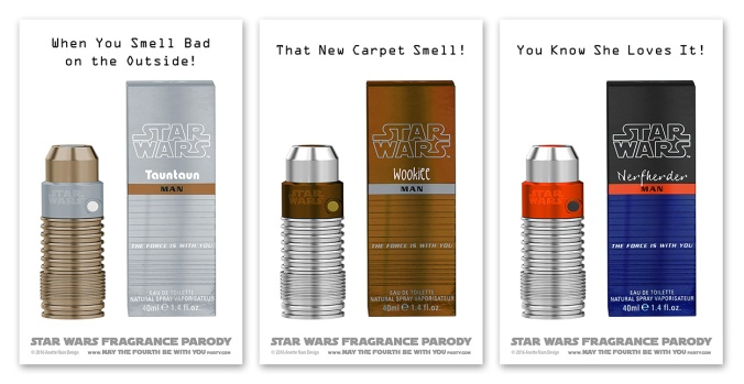 Star Wars Fragrance Parody / We add new Star Wars fun to our blog every week! / #starwars #parody #chewbacca #wookiee #tauntaun #hansolo #nerfherder #smell #amidala #fragrance #perfume #jedi #empire #gift #geek #spoof #lifestyleperfumes / maythefourthbewithyoupartyblog.com