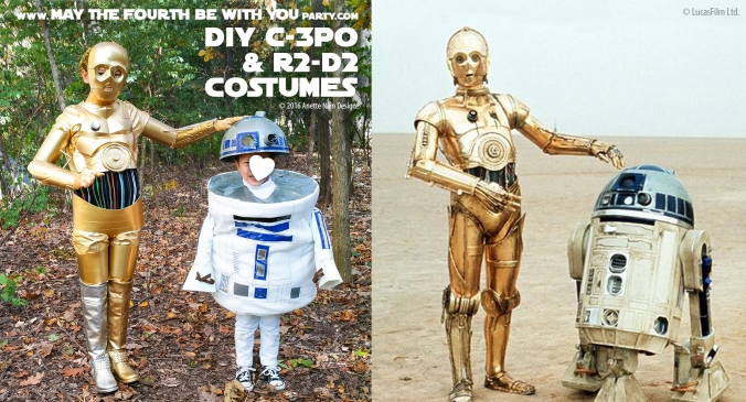 C-3PO and R2-D2 DIY Costume and Cosplay / Check out lots more Star Wars Halloween costumes and cosplay ideas on our blog / #starwars #halloween #maythefourthbewithyou #maythe4thbewithyou #costume #ducttape #cosplay #diy #pattern #sewing #theforceawakens #c3po #r2d2 #droid #geek #nerd #spraypaint #gold / maythefourthbewithyoupartyblog.com