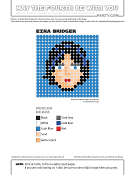 Ezra Bridger Perler Pattern / We add new patterns to our blog every week! Click URL to follow us to make sure you don't miss any! / Star Wars perler, hama bead, cross-stitch, knitting, Lego, pixel pattern / Patterns are ©. Your work must include © if posted, and can not be sold. See blog for complete ©. #pixel #pixelart #perler #perlerbeads #hama #hamabeads #artkal #fusebeads #starwars #crossstitch #lego #knitting #mosaic #ezrabridger #rebels #starwarsrebels maythefourthbewithyoupartyblog.com