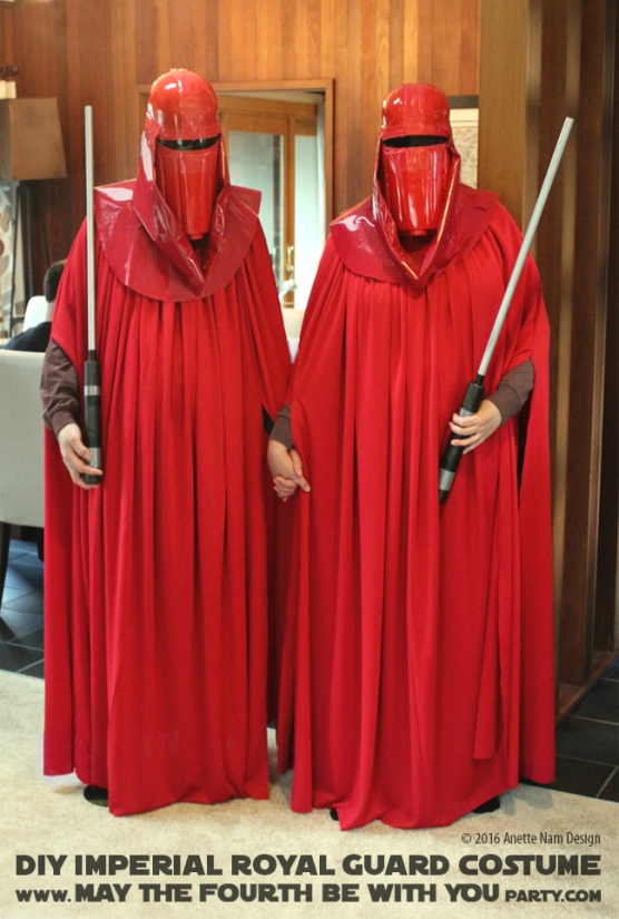 Imperial Guards DIY Costume and Cosplay / Check out lots more Star Wars Halloween costumes and cosplay ideas on our blog / #starwars #halloween #maythefourthbewithyou #maythe4thbewithyou #costume #ducttape #cosplay #diy #pattern #sewing #royalguard #imperialgaurd #redguard #geek #nerd #spraypaint / maythefourthbewithyoupartyblog.com