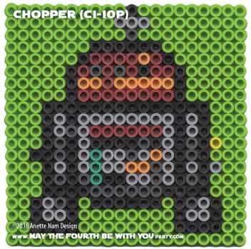 Chopper C1-10P Perler Pattern / We add new patterns every week! Follow us to make sure you don't miss any! / Star Wars perler, hama bead, cross-stitch, knitting, Lego, pixel pattern / Patterns are © Your work must include © if posted, and can not be sold. See blog for complete ©. #pixel #pixelart #perler #perlerbeads #hama #hamabeads #artkal #fusebeads #starwars #crossstitch #lego #knitting #mosaic #chopper #C1-10P #rebels #starwarsrebels maythefourthbewithyoupartyblog.com