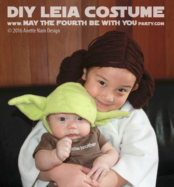 Princess Leia and Yoda DIY Costume and Cosplay / Check out lots more Star Wars Halloween costumes and cosplay ideas on our blog / #starwars #halloween #maythefourthbewithyou #maythe4thbewithyou #costume #cosplay #diy #pattern #sewing #leia #yoda #geek #nerd / maythefourthbewithyoupartyblog.com