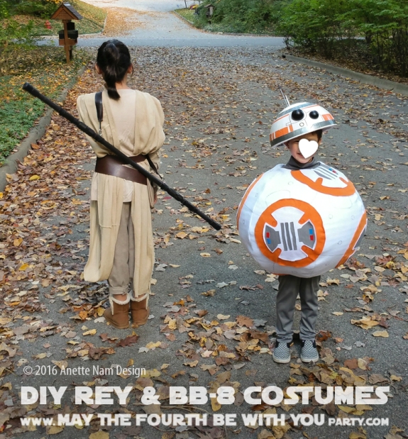DIY Rey and BB-8 Costume and Cosplay / Check out lots more Star Wars Halloween costumes and cosplay ideas on our blog / #starwars #halloween #maythefourthbewithyou #maythe4thbewithyou #costume #cosplay #diy #pattern #sewing #rey #bb8 #geek #nerd #theforceawakens/ maythefourthbewithyoupartyblog.com