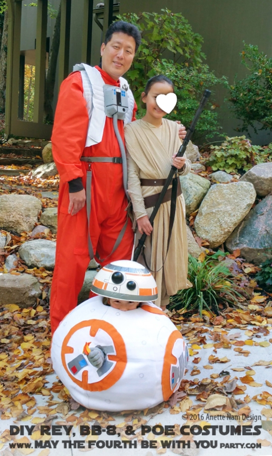 DIY Rey, BB-8 Poe Dameron Costumes and Cosplay / Check out lots more Star Wars Halloween costumes and cosplay ideas on our blog / #starwars #halloween #maythefourthbewithyou #maythe4thbewithyou #costume #cosplay #diy #pattern #sewing #rey #poe #poedameron #bb8 #geek #nerd #theforceawakens/ maythefourthbewithyoupartyblog.com