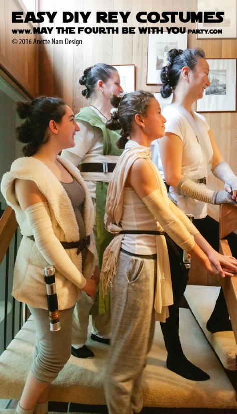 Easy Rey DIY Costume and Cosplay / Check out lots more Star Wars Halloween costumes and cosplay ideas on our blog / #starwars #halloween #maythefourthbewithyou #maythe4thbewithyou #costume #cosplay #diy #pattern #sewing #rey #geek #nerd #theforceawakens/ maythefourthbewithyoupartyblog.com