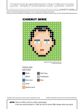 Chirrut Imwe Perler Pattern / Star Wars perler, hama bead, cross-stitch, knitting, Lego, pixel pattern / Patterns are © Your work must include © if posted, and can not be sold. See blog for complete ©. #pixel #pixelart #perler #perlerbeads #hama #beads #hamabeads #artkal #fusebeads #starwars #crossstitch #lego #knitting #mosaic #chirrutimwe #chirrut #imwe #rogueone #rogue one #star #wars #pattern maythefourthbewithyoupartyblog.com