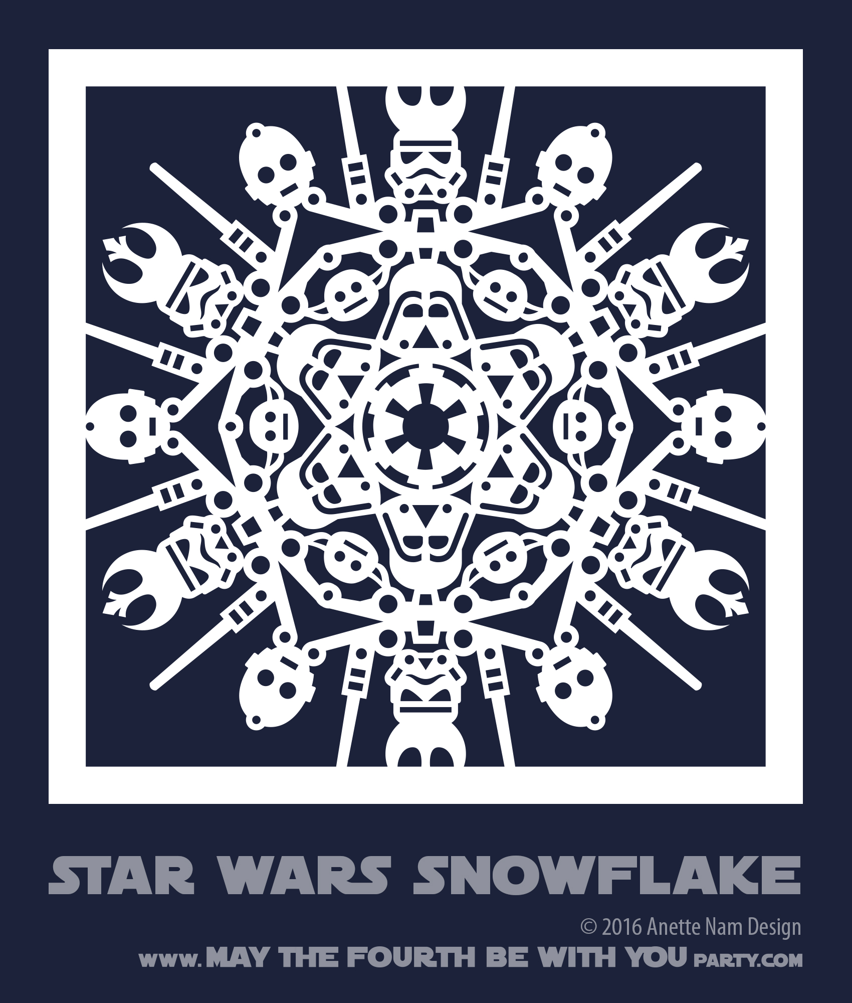 May The Fourth Be With You Wookie: Star Wars Snowflake Pattern #1 (downloadable)