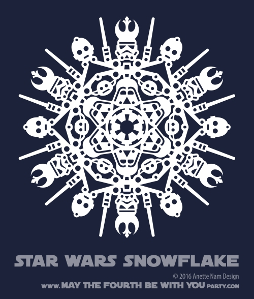 Downloadable Star Wars Snowflakes /// We add new Star Wars crafts to our blog every week! Design is copyrighted and for personal use only. See blog for details. /// #starwars #star wars #snowflake #christmascard #paperart #downloadable #cutpaper #silhouette #silhouettecameo #silkscreen #paper #papercraft /// maythefourthbewithyoupartyblog.com