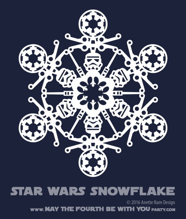 Downloadable Star Wars Snowflakes /// We add new Star Wars crafts to our blog every week! Design is copyrighted and for personal use only. See blog for details. /// #starwars #star wars #snowflake #paperart #downloadable #cutpaper #silhouette #silhouettecameo #silkscreen #paper #papercraft /// maythefourthbewithyoupartyblog.com