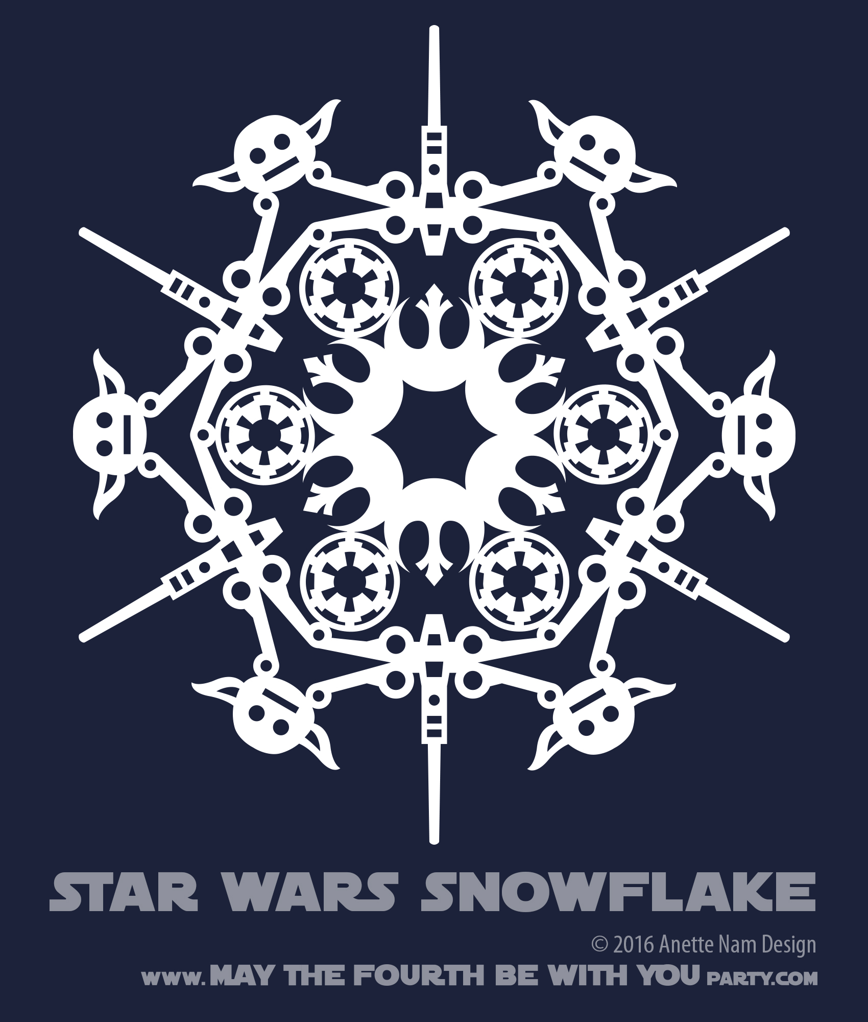 May The 4th Be With You Lesson Plans: Star Wars Snowflake Pattern #4 (downloadable)