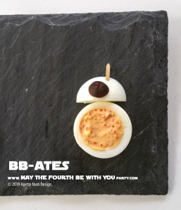 Star Wars Food: B-Ates BB-8 // Check out our blog for lots of Star Wars Party food recipes and downloadable labels! Great for a Birthday Party or May the Fourth be with you Party. // #starwars #starwarsparty #theriseofskywalker #maythefourthbewithyou #starwarsbirthday #starwarsfood #recipe #egg #bb8 #easter #recipe // maythefourthbewithyoupartyblog.com