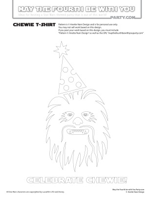 DIY Celebrate Chewie T-shirt/Stencil Pattern. This and many other patterns can be downloaded FREE from our blog. / Note: Patterns are ©, and your work must include © if posted, and can not be sold. See blog for complete ©/ #Chewbacca #chewie #petermayhew #starwars #tshirt #starwarsparty #rogueone #maythefourthbewithyou #maythe4th #maythefourth #revengeofthefifth #starwarscostume #pattern #maythe4thbewithyou #stencil #silkscreen #silhouettecameo #maythefourthbewithyoupartyblog.com #swcc #starwarscelebration